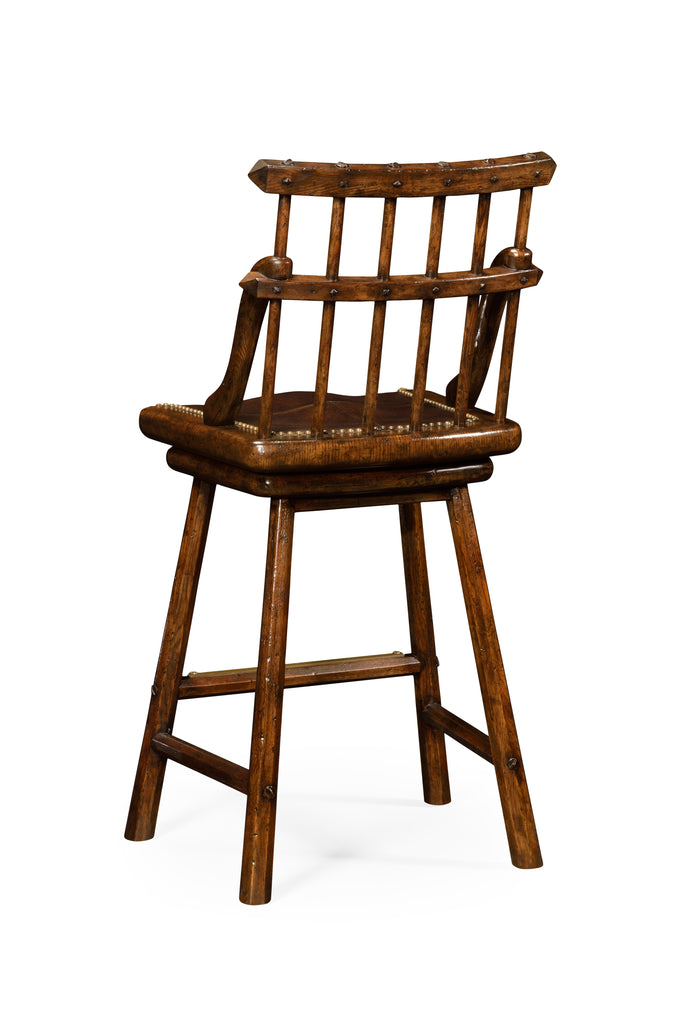 Jonathan Charles Rustic Dark Oak Barstools Available in Arm or Side - Perfect Home Bars
