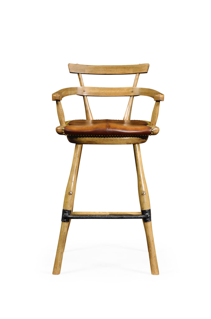 Jonathan Charles Natural Oak Barstool With Studded Leather Seat (Arm) - Perfect Home Bars