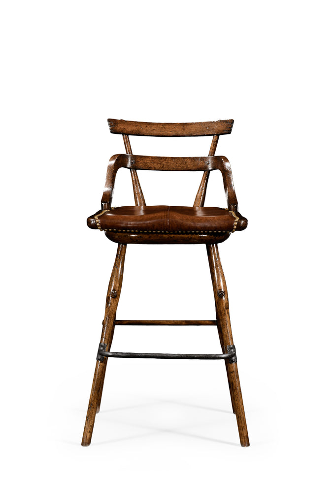 Jonathan Charles Natural Oak Barstool With Studded Leather Seat (Side)
