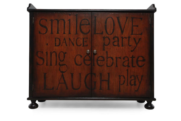 Pulaski Furniture Smile Love Laugh Wine Cabinet in Brown/Black - Perfect Home Bars