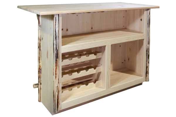 Montana Woodworks Collection Deluxe Wood Bar with Foot Rail - Perfect Home Bars