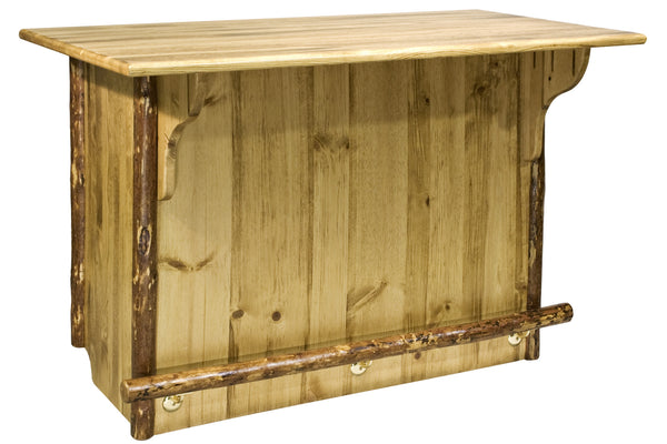 Montana Woodworks Glacier Country  Collection Deluxe Wood Bar with Foot Rail - Perfect Home Bars
