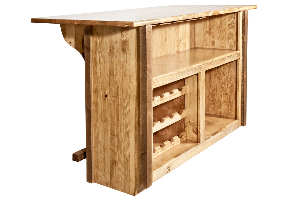 Montana Woodworks Homestead Collection Deluxe Wood Bar with Foot Rail - Perfect Home Bars