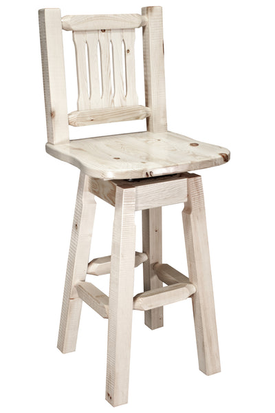 Montana Woodworks Homestead Collection Wood Barstool w/ Back & Swivel - Perfect Home Bars