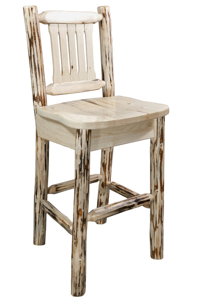 Montana Woodworks Collection Barstool w/ Back, Ergonomic Wooden Seat - Perfect Home Bars