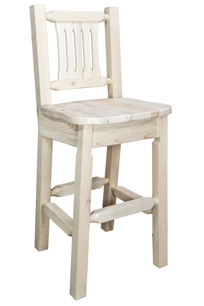 Montana Woodworks Homestead Collection Wood Barstool w/ Back w/ Ergonomic Wooden Seat - Perfect Home Bars