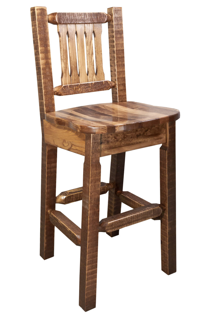 Montana Woodworks Homestead Collection Wood Barstool w/ Back w/ Ergonomic Wooden Seat