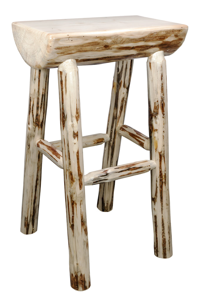 Montana Woodworks Collection Half Log Wood Barstool - Perfect Home Bars