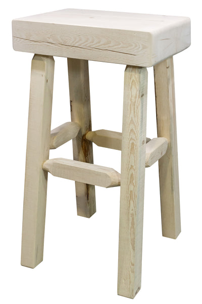 Montana Woodworks Homestead Collection Half Log Wood Barstool - Perfect Home Bars