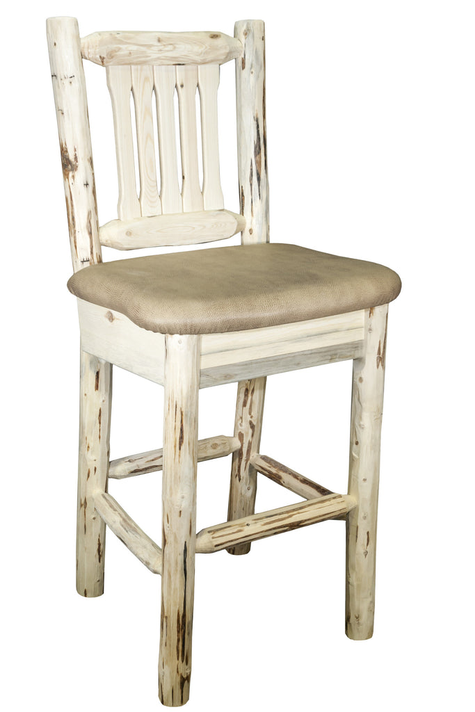 Montana Woodworks Collection Wood Bar Stool w/ Back w/ Upholstered Seat, Buckskin Pattern