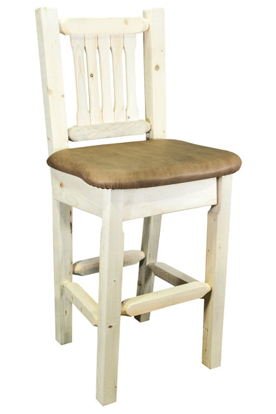Montana Woodworks Homestead Collection Wood Barstool w/ Back w/ Upholstered Seat, Buckskin Pattern - Perfect Home Bars