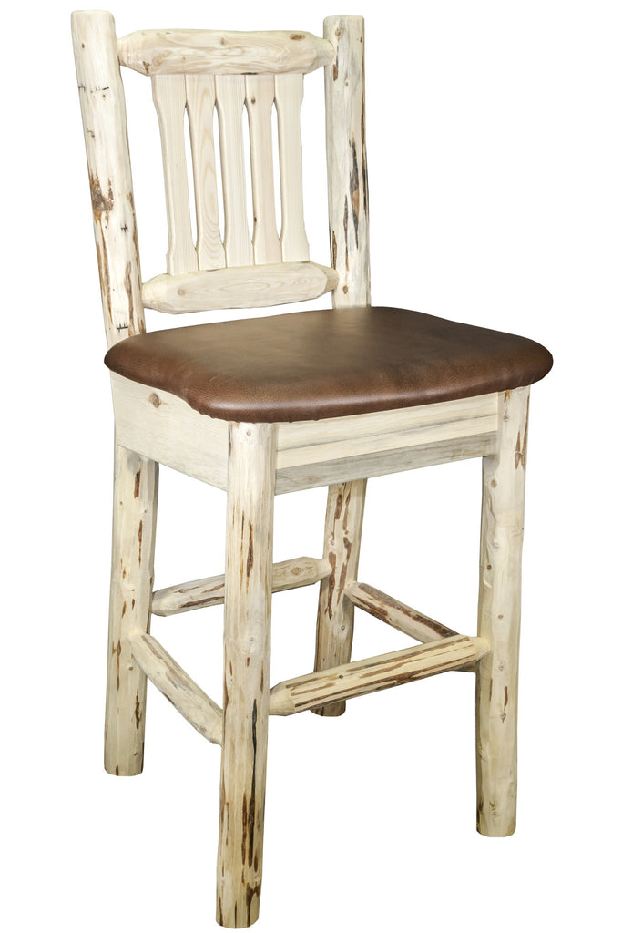 Montana Woodworks Collection Barstool w/ Back, w/ Upholstered Seat, Saddle Pattern - Perfect Home Bars