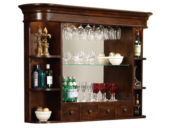 Howard Miller Niagara Back Bar Hutch in Rustic Cherry - Perfect Home Bars