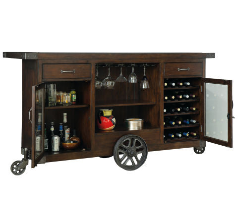 Howard Miller Beverage Trolley Bar Full Open View