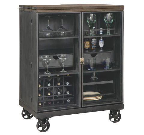 Howard Miller Shooter Wine & Bar Console Front Corner View