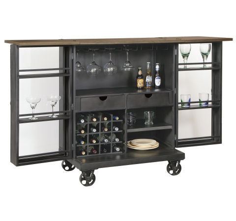 Howard Miller Shooter Wine & Bar Console Open Spread View