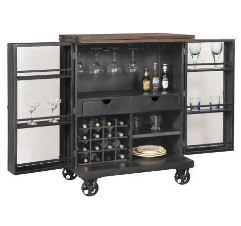 Howard Miller Shooter Wine & Bar Console Front Open View