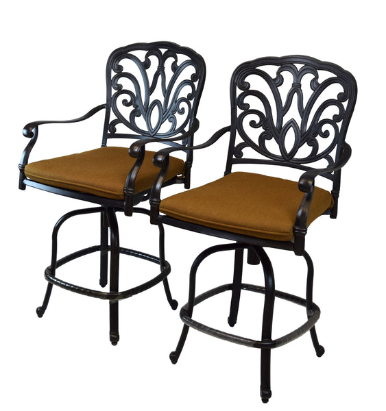Oakland Living Hampton Aluminum Counter Height Bar Stools with Sunbrella Cushions - Set of 2 - Perfect Home Bars
