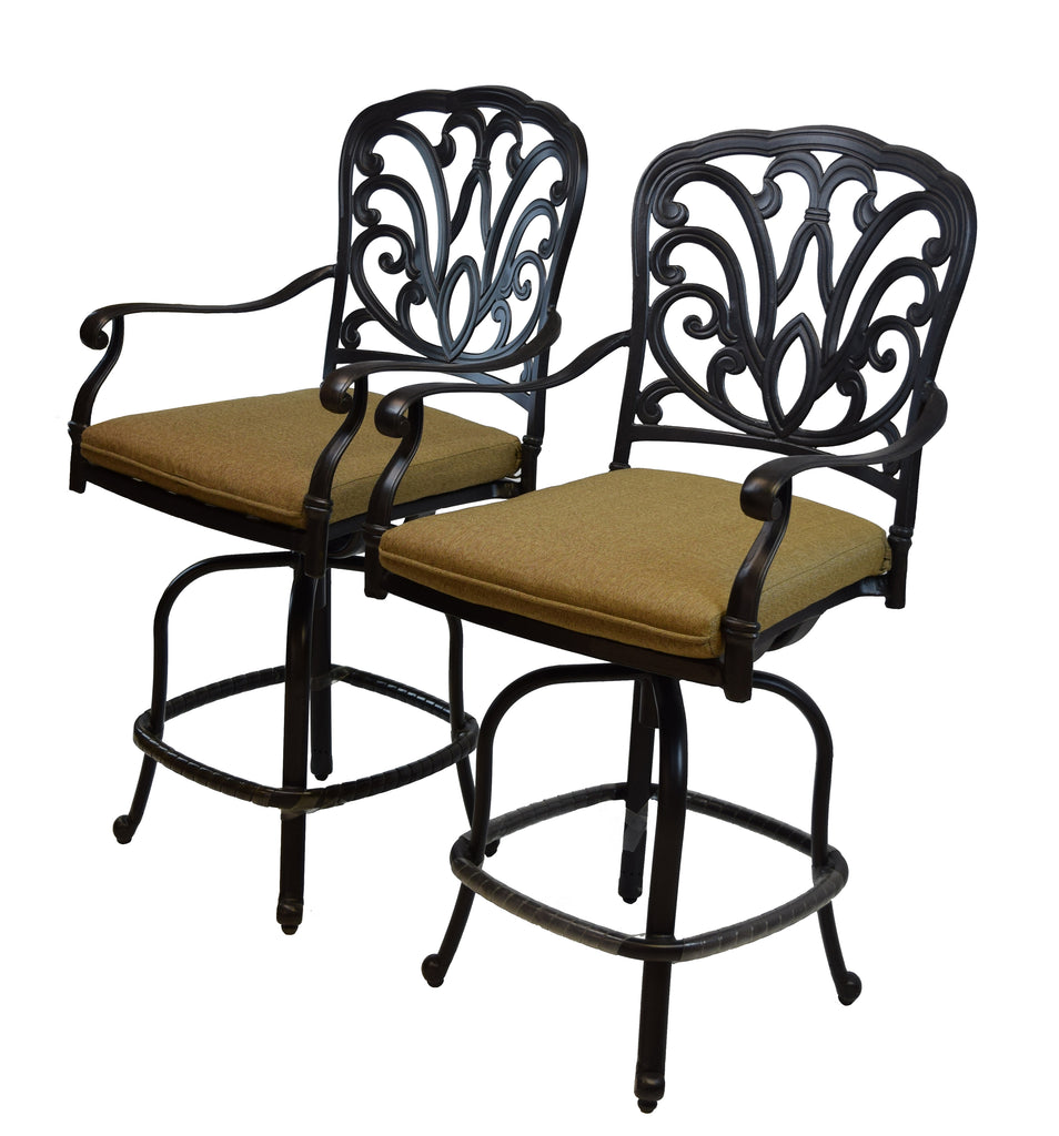 Oakland Living Hampton Aluminum Counter Height Bar Stools with Comfortable Cushions  - Set of 2 - Perfect Home Bars
