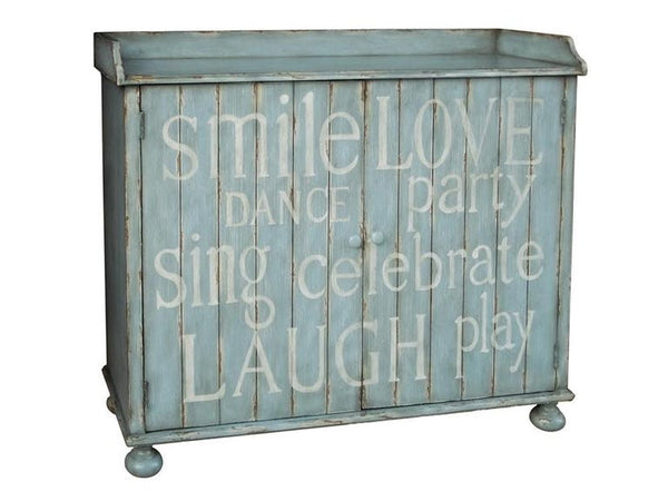 Pulaski Furniture Distressed Blue Painted Words Wine Cabinet - Perfect Home Bars