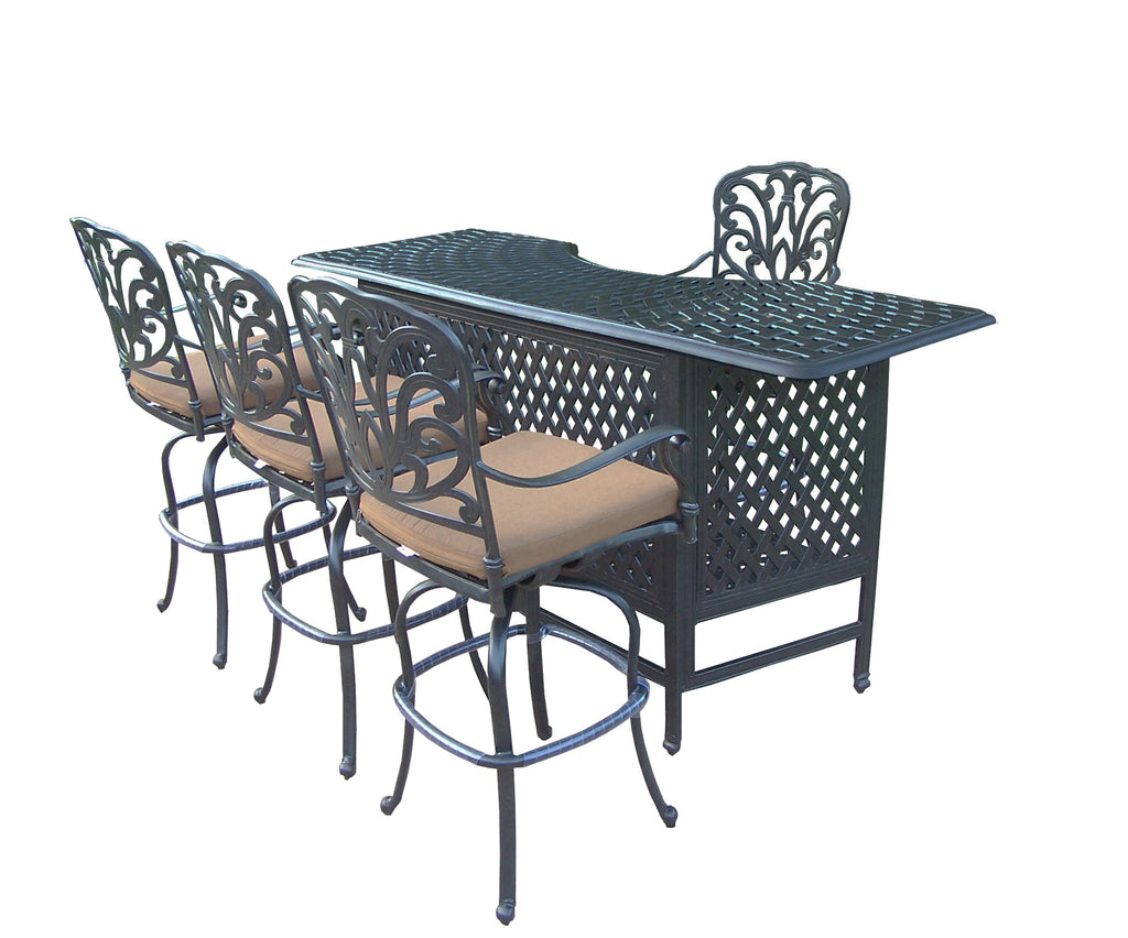 Oakland Living Hampton Aluminum 5 Pc. Party Bar Set with Bar Table and 4 Swivel Bar Stools - Perfect Home Bars
