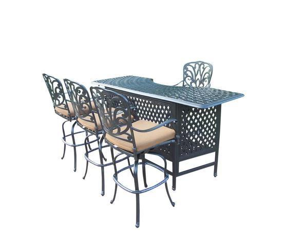 Oakland Living Hampton Aluminum 5 Pc. Party Bar Set w/ Aluminum Bar Table and 4  Swivel Bar Stools