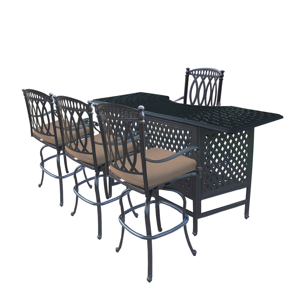 Oakland Living Morocco Aluminum 5 Pc. Party Bar Set with Cast Aluminum Bar Table and 4 Swivel Bar Stools - Perfect Home Bars