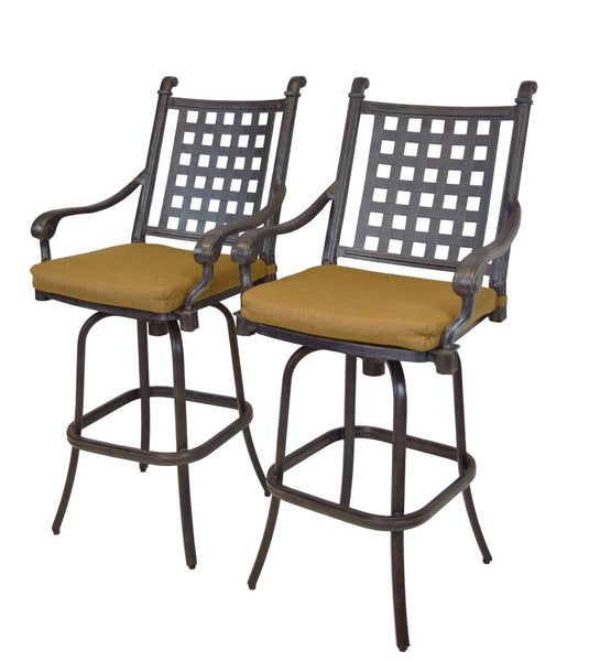 Oakland Living Belmont Aluminum Swivel Bar Stool - Set of 2 - Perfect Home Bars