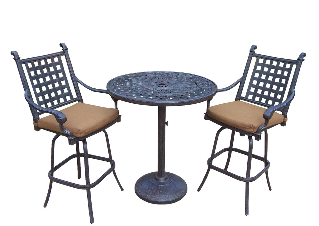 Oakland Living Belmont Aluminum 3 Pc. Bar Set with 2 Swivel bar stools and Bar Table - Perfect Home Bars
