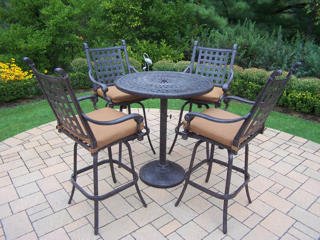 Oakland Living Belmont Aluminum 5 Pc. Bar Set with 4  Swivel Bar Stools and 36-Inch Bar Table - Perfect Home Bars