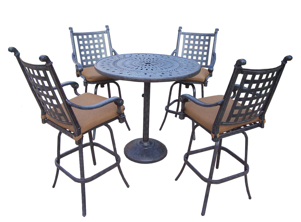 Surprising Oakland Living Belmont Aluminum 5 Pc Bar Set With 4 Swivel Bar Stools And 42 Inch Bar Table Unemploymentrelief Wooden Chair Designs For Living Room Unemploymentrelieforg