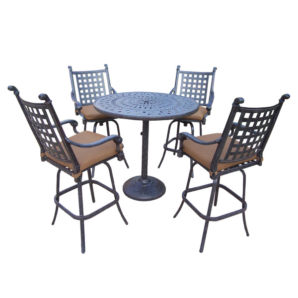 Oakland Living Belmont Aluminum 5 Pc. Bar Set with 4 Swivel Bar Stools and 42-Inch Bar Table - Perfect Home Bars