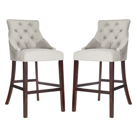 Eleni Tufted Wing Back Bar Stool White Front View