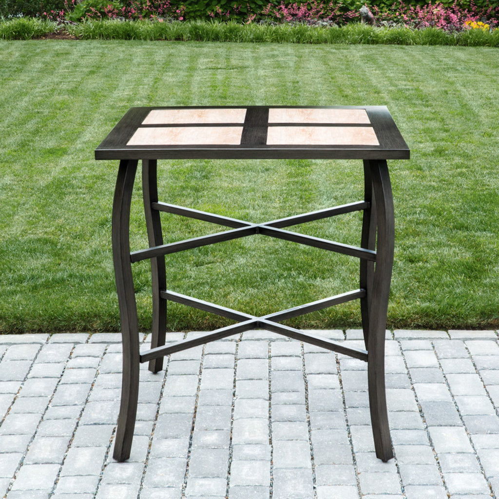 Oakland Living Outdoor and Indoor Wood Style Aluminum and Porcelain Brown Grey Beige Square Bar Table Pub Set with 4 Wicker Bar Stools and Sunbrella Cushions - Perfect Home Bars
