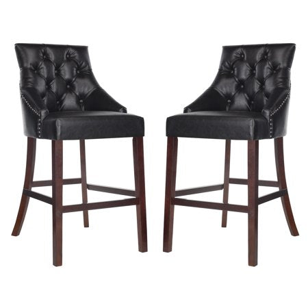 Eleni Tufted Wing Back Bar Stool Black Front View