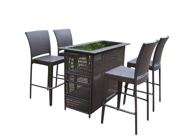"Oakland Living Elite Resin Wicker 5 Pc. Bar Set w/ 50"" x 23"" Bar Table and 4 Bar Stools - Perfect Home Bars"