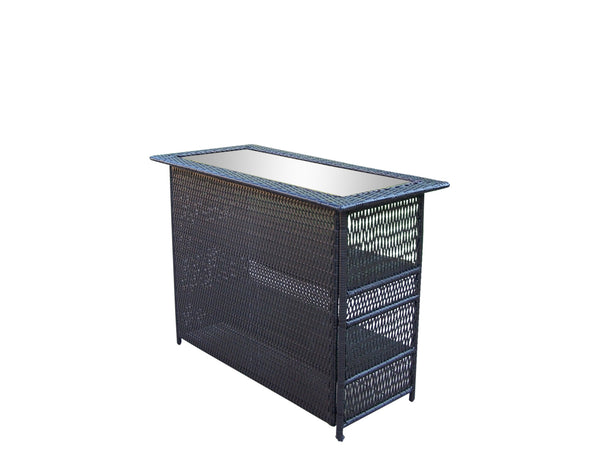 Oakland Living Elite Resin Wicker Bar table with Tempered Glass Top - Perfect Home Bars