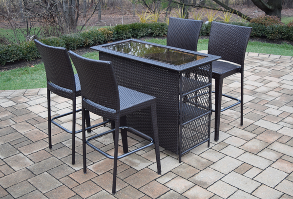 Oakland Living Elite All-Weather Resin Wicker 5 Pc. Bar Set with 4 Bar Stools - Perfect Home Bars