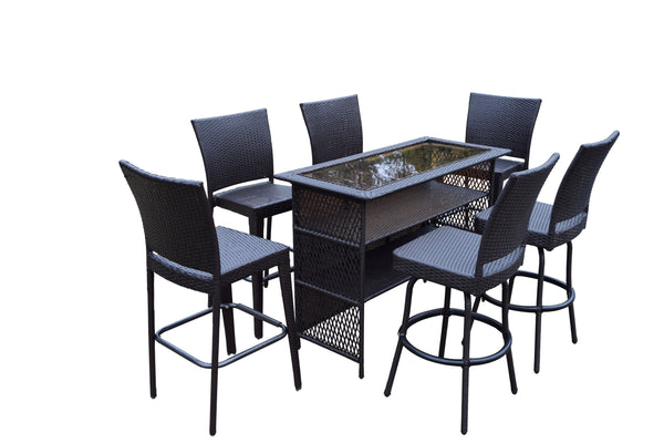 Oakland Living Elite All-Weather Resin Wicker 7 Pcs. Bar Set with 2 Swivel Bar Stools and 4 Bar Stools - Perfect Home Bars