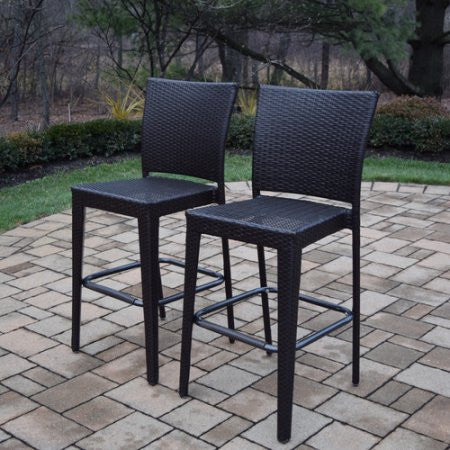 Oakland Living Elite Resin Wicker Half-Round 5 Pc. Bar Set w/ Bar Table and 4 Bar Stools - Perfect Home Bars