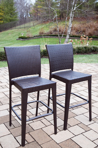Oakland Living All-Weather Elite Resin Wicker Bar Stools - Set of 4 - Perfect Home Bars
