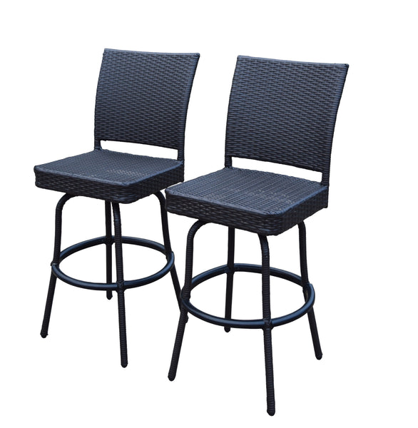 Oakland Living Elite All-Weather Resin Wicker Swivel Bar Stool - Set of 2 - Perfect Home Bars
