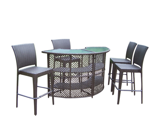 Oakland Living Elite Resin Wicker Half-Round 5 Pc. Bar Set w/ Bar Table and 4 Bar Stools