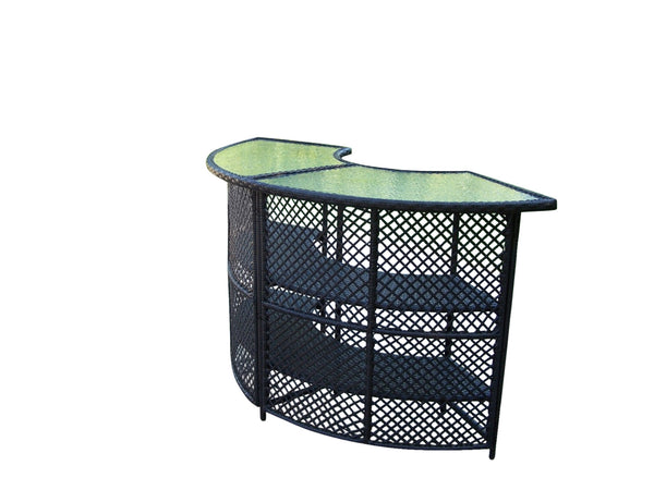 Oakland Living Half-Round Wicker Bar Table - Perfect Home Bars