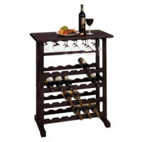Winsome Vinny Wine Rack, 24-Bottle with Glass Hanger