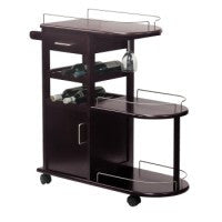 Winsome Entertainment Cart, Glass Rack, Cabinet, Drawer - Perfect Home Bars