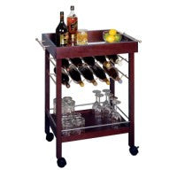 Winsome Bar Cart, Mirror Top, wine rack