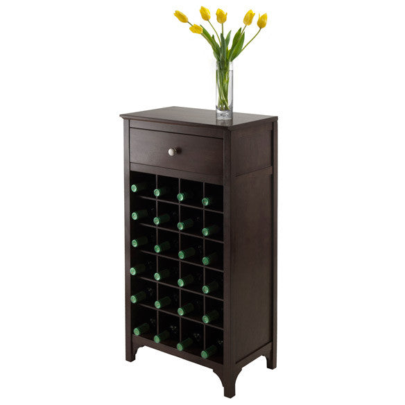 Winsome Ancona Modular Wine Cabinet with One Drawer & 24-Bottle - Perfect Home Bars