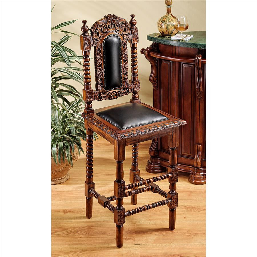 Design Toscano Elaborately Hand-Carved Charles II Bar Stool - Perfect Home Bars
