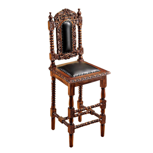 Design Toscano Elaborately Hand-Carved Charles II Bar Stool